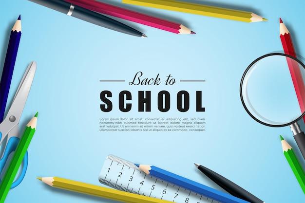 연필과 3d 학교 도구 일러스트와 함께 학교로 돌아가기