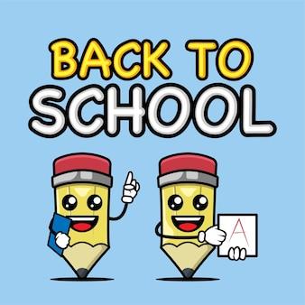 연필 배너 마스코트 디자인 서식 파일이 있는 학교로 돌아가기