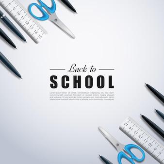 학교 도구가 정사각형 배경에 펼쳐진 학교로 돌아가기