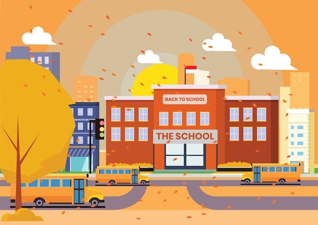 オレンジ色の秋のシーンで学校に戻って