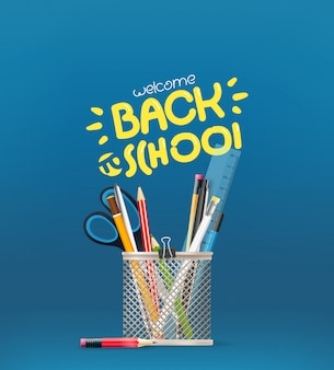 Back toschool inscription, school stationery elements on a table,