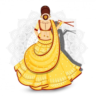 Back view of beautiful woman holding dandiya sticks on white mandala floral background.