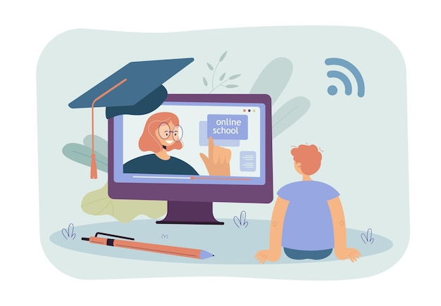 Back view of boy watching online lecture. schoolboy sitting in front of huge monitor with female teacher on screen flat illustration