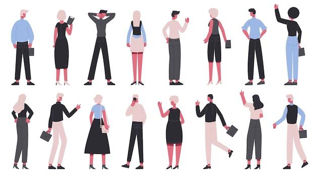 비즈니스 캐릭터를 다시 볼 수 있습니다. 직장인 다시보기, 비즈니스 남성과 여성 뒷면 세트