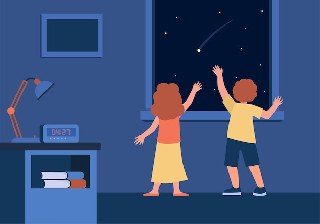 Back view of children watching night sky with falling star