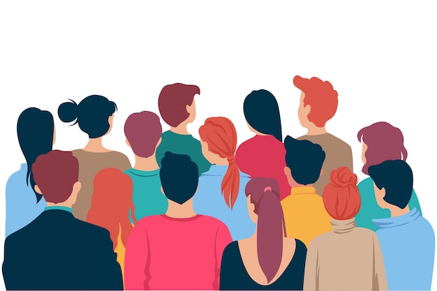 Back view colored head of cartoon people crowd theater watching isolated