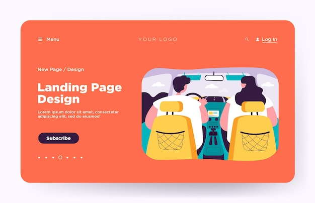 Back view of couple inside car isolated landing page. view from backseat landing page
