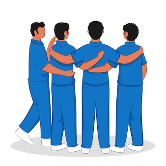 Back view of cricket players huddle together on white background.