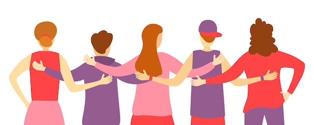 Back view of friends man and woman standing together,embracing each other,waving hands.people from their back. team hug.group of diverse happy characters people standing together. illustration.