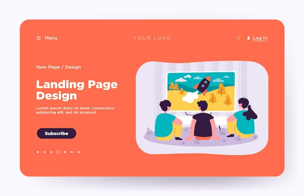 Back view of kids watching tv show isolated landing page