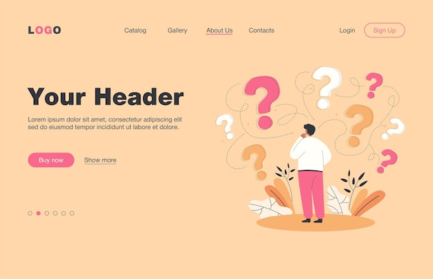 Back view of man making business decision flat  landing page.. cartoon character thinking about options and questions marks around him. success and searching for solution strategy concept
