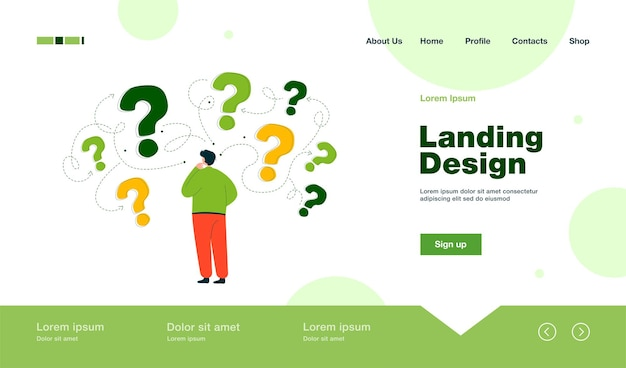 Back view of man making business decision landing page in flat style
