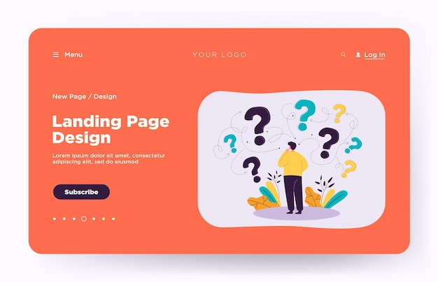 Back view of man making business decision landing page