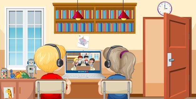 Вид сзади на пару детей, общающихся по видеоконференции с друзьями на домашней сцене