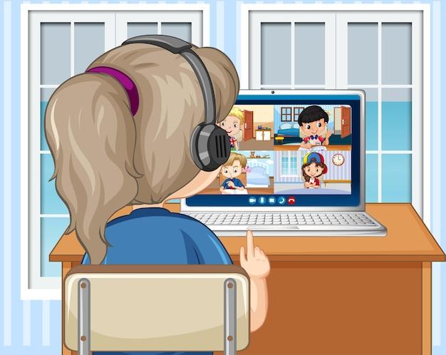 소녀의 뒷모습은 집에서 친구들과 화상 회의를 의사 소통합니다.