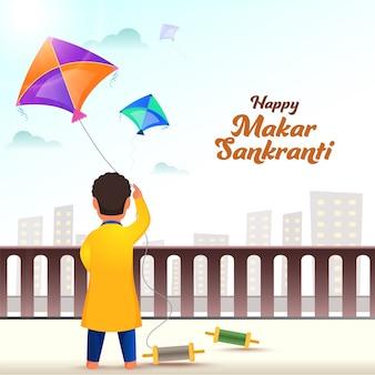 Вид сзади мальчика, запускающего воздушного змея на крыше с видом на городской пейзаж для фестиваля happy makar sankranti