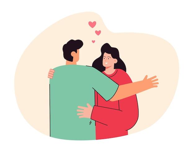 여자친구를 껴안고 있는 남자친구의 뒷모습. 함께 서 있는 귀여운 커플, 평면 그림 웃는 여자