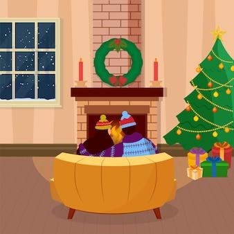 暖炉の前でソファに座っているカップルの背面図