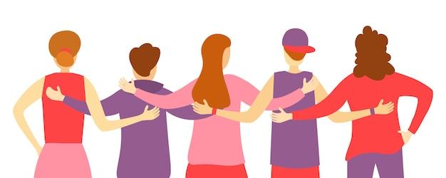 友達の男と女が一緒に立って、抱き合って、手を振っての背面図。人々の後ろから。チームの抱擁。一緒に立っている多様な幸せなキャラクターのグループ。図。