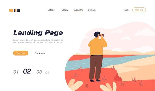 双眼鏡のランディングページテンプレートで自然を探索する男の背面図