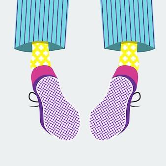 Вид сзади на мужские ботинки и костюм. плоские векторные иллюстрации.