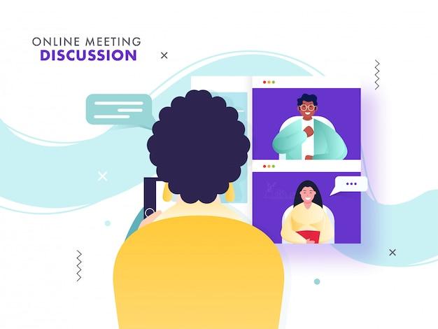 コロナウイルス中に同僚と話し合うためにオンライン会議をしている女性の背面図。