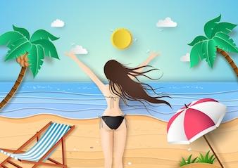 Back view of young girl in black bikini at tropical beach.