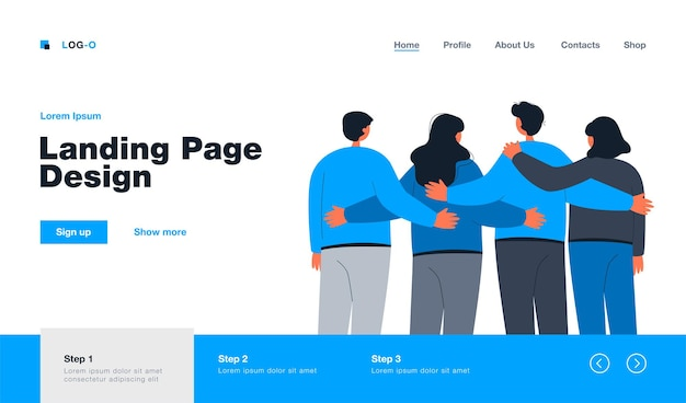 Back view of team members standing together landing page in flat style