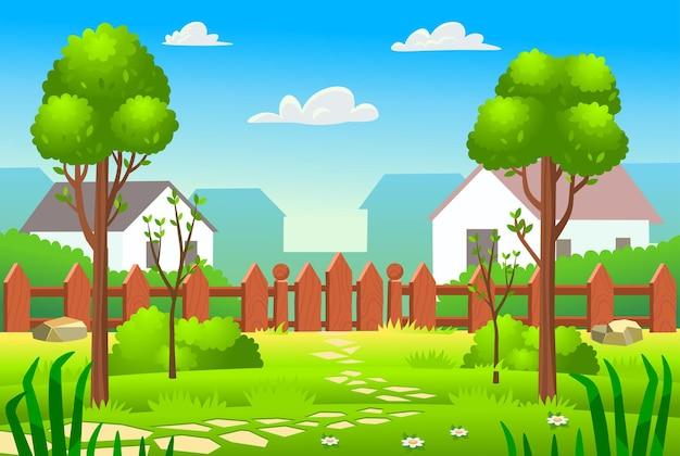 緑の芝生の柵と木々のある裏庭草のある村のカントリーハウス