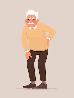 Backache. grandfather is holding his back. rheumatism.