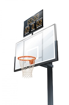 Backboard, hoop and scoreboard
