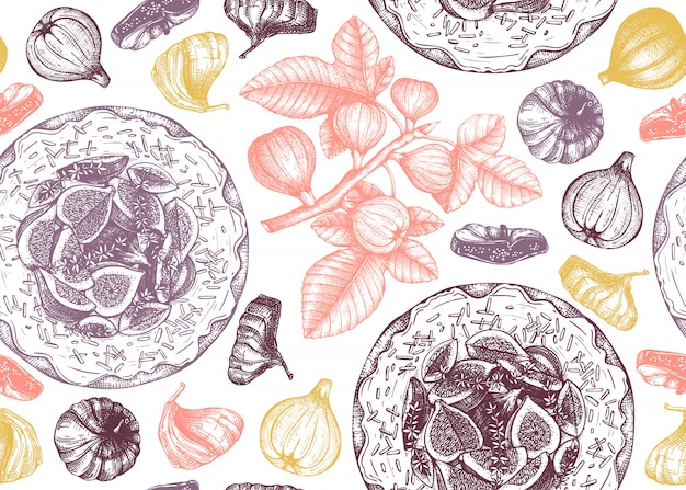 Backdrop with hand drawn fig fruit. seamless pattern with  fig branches, fresh and dries fruits, baking cakes. vintage background with summer food elements. for menu or recipe book.