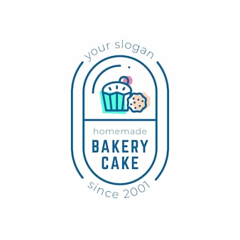 Backeryケーキのロゴのテンプレートテーマ