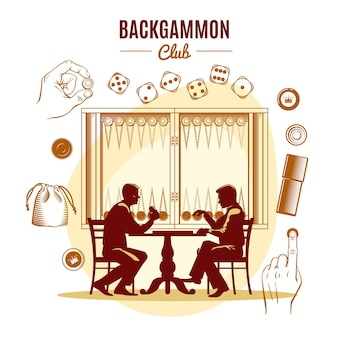 Backgammon club vintage illustration style