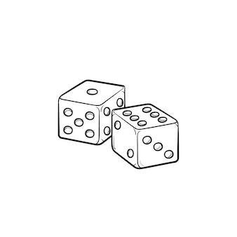 주사위 놀이 손으로 그린 개요 낙서 아이콘입니다. 행운의 게임 - 흰색 배경에 격리된 인쇄, 웹, 모바일 및 인포그래픽을 위한 주사위 놀이 벡터 스케치 그림.