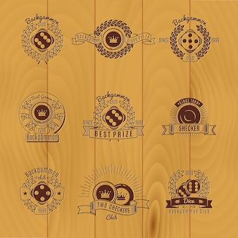 Backgammon monochrome emblems