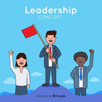 手描きの旗のリーダーシップbackgorund