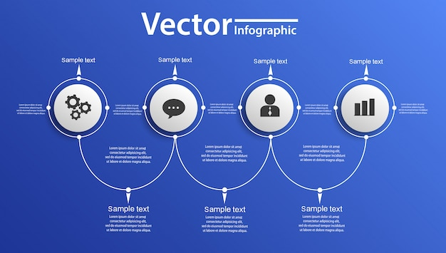 Векторная инфографика круга на синем backgraund