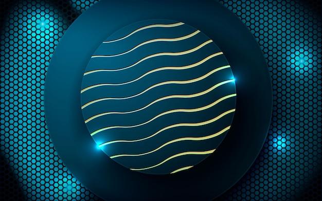 Круглая форма на синий свет шестиугольника backgrond