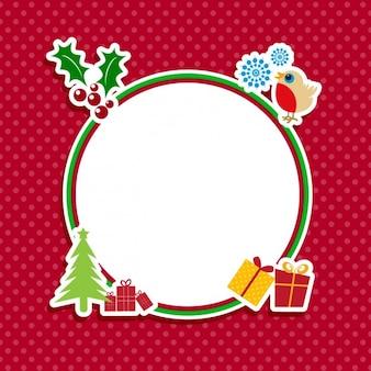 Симпатичные рождественские этикетки на красном backgroun