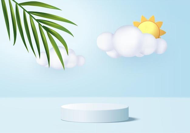 연단과 최소한의 구름 장면 배경 3d 블루 렌더링 최소한의 제품 디스플레이 배경 3d 렌더링 된 기하학적 모양 하늘 구름 블루 파스텔 무대 플랫폼에서 제품 3d 렌더링