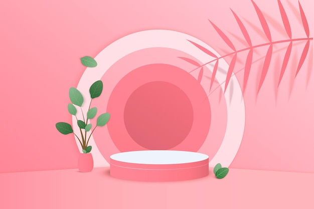Background 3d pink rendering with podium and minimal pink wall scene