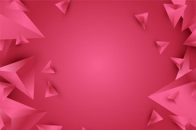 Background 3d triangle design in vivid pink tones