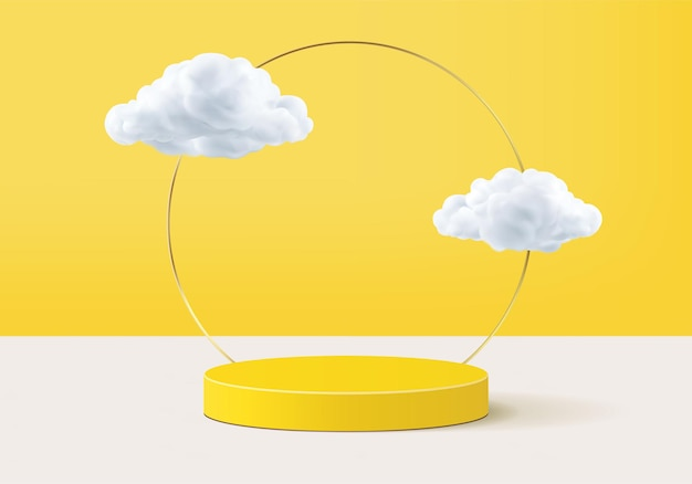 연단 및 최소한의 구름 장면, 최소한의 제품 표시로 배경 3d 노란색 렌더링