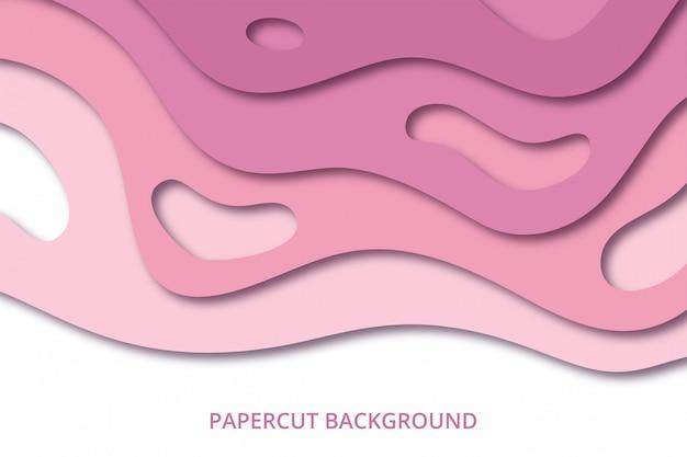 Background_92_papercutabstractペーパーカットの背景の壁紙。柔らかい赤ちゃんピンク色の背景テンプレート