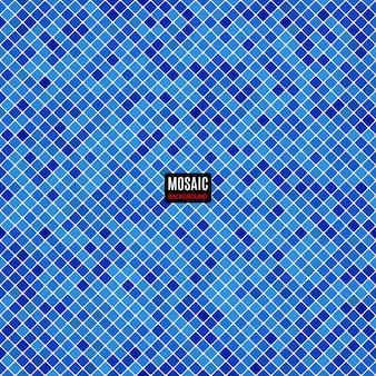 グリッドピクセルパターンと正方形の濃い青色の背景の抽象的なモザイク