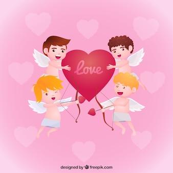 Sfondo di angeli con un cuore