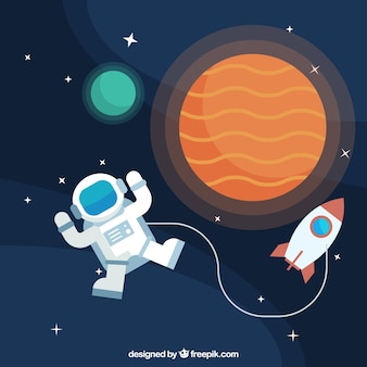 Background of astronauts with planets and rocket