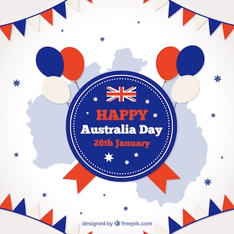 Background of australia day with balloons and garlands