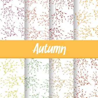 Background of autumn branch tree seamless pattern